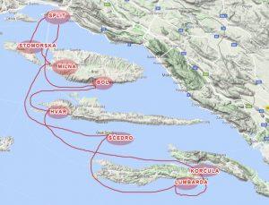 Route Split Korčula